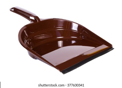 New brown dustpan for cleaning on white background, concept of household duties