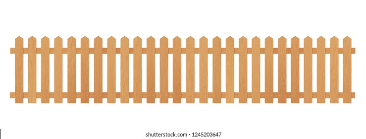 New brown wooden fence isolated on white background with clipping path