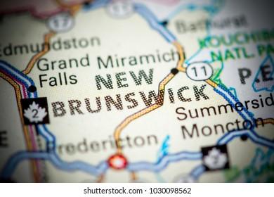 New Brunswick. Canada on a map.