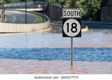 New Brunswick, New Jersey - September 2, 2021: View of Route 18 South, completely flooded in the aftermath of Tropical Storm Ida.