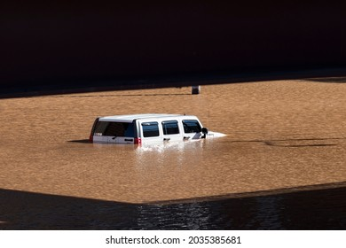 New Brunswick, New Jersey - September 2, 2021: SUV submerged underwater in the aftermath of Tropical Storm Ida.