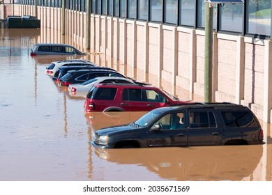 New Brunswick, New Jersey - September 2, 2021: Cars submerged underwater in the aftermath of Tropical Storm Ida.