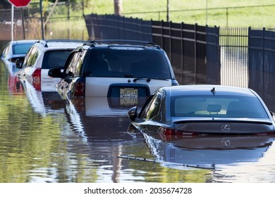 New Brunswick, New Jersey - September 2, 2021: Parked cars submerged underwater in the aftermath of Tropical Storm Ida.
