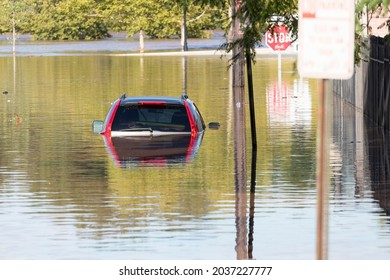 New Brunswick, New Jersey - September 2, 2021: Vehicle submerged underwater in the aftermath of Tropical Storm Ida.