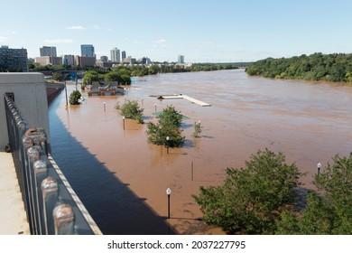 New Brunswick, New Jersey - September 2, 2021: Boyd Park, submerged under flood water from the Raritan River in the aftermath of Tropical Storm Ida.