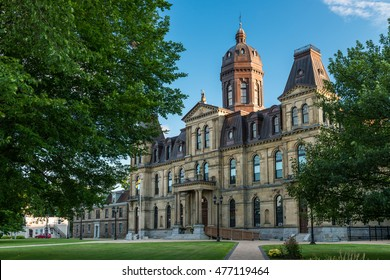 The New Brunswick Legislative Building in Fredericton, New Brunswick. The Second Empire style building opened in 1882.