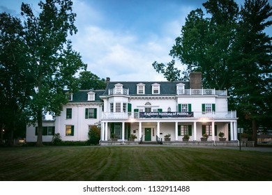 New Brunswick, NJ - July 11, 2018: The Eagleton Institute of Politics, housed at the Wood Lawn Mansion - a building on the US National Register of Historic Places.