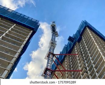 New build construction on Nine Elms Lane Vauxhall London UK June 2020