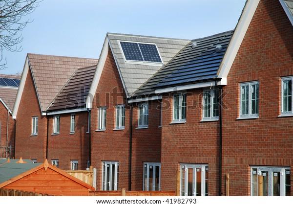 New Build Houses Solar Panels Stock Photo Edit Now 41982793