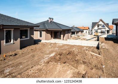 New build houses. Sunny day. Construction site