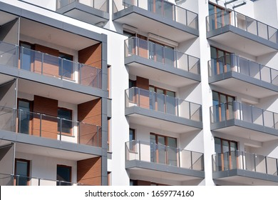 New building condominium. Modern apartment complex exterior.