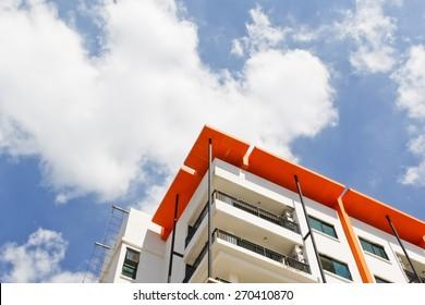 New building condominium soft focus., Modern apartment complex exterior