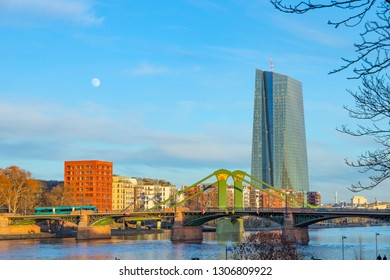 New building of European currency bank ECB at the east harbor area in Frankfurt with bridge