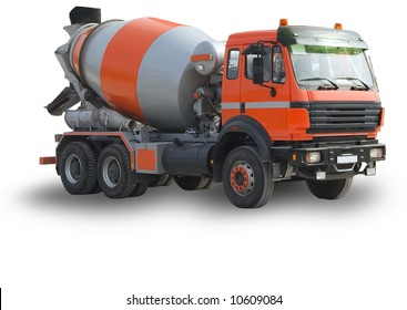 The new building lorry of red color with a concrete mixer on a white background, Isolated