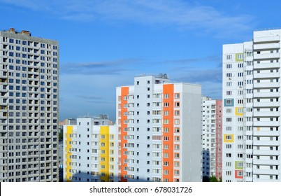 New building. New multi-storey multi-entrance residential buildings of different levels