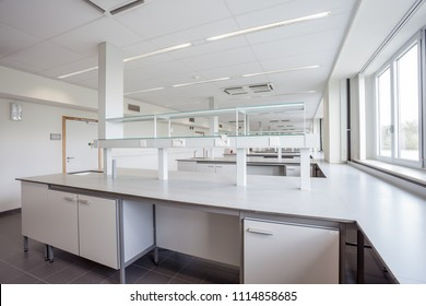 in an new building there are labs with lab furniture