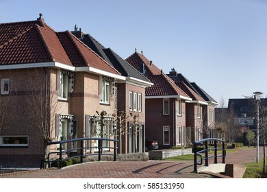 New built classic Dutch houses in Berkel in the Netherlands