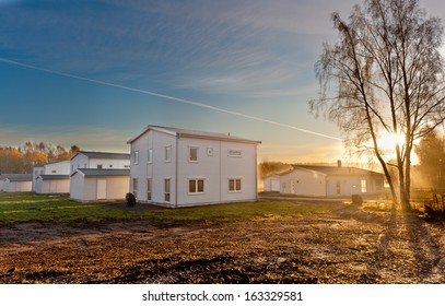 New built house in the sunset