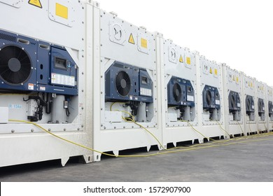 New built shipping frozen or chill reefer container is plugging in the container terminal.