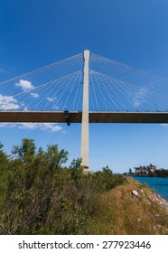 The new cable bridge of Chalkida, Greece that connects the island of Evia with mainland Greece against a blue sky
