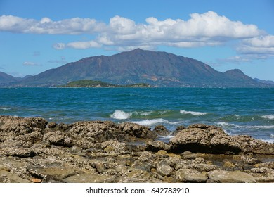 New Caledonia Grande Terre island coastal landscape with the mountain Mont Dore seen from Noumea, south Pacific, Oceania