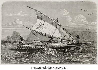 New Caledonian double piragua old illustration. Created by Neuville, published on Le Tour Du Monde, Paris, 1867