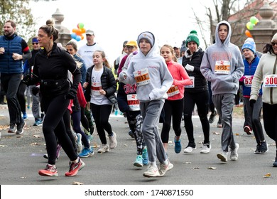 "New Canaan, CT, USA - November 17, 2019: People from the town gather for the annual ""Turkey Trot"". The event is a 5K walk, run or jog at the WAVENY PARK. All proceeds benefit the Open Doors shelter."