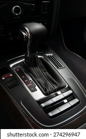 New car automatic transmission. Interior detail.