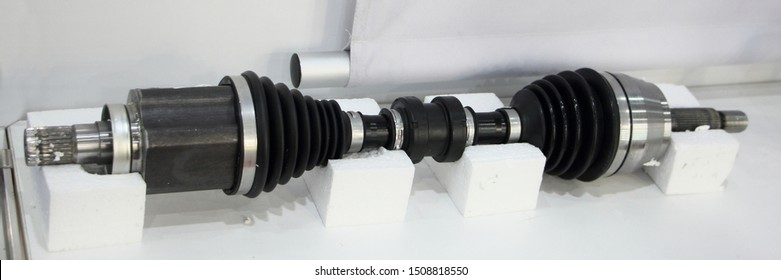 New car CV-joint shaft with two Tripods close up