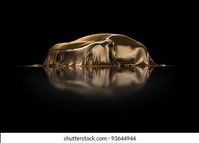 New Car Presentation golden drapery