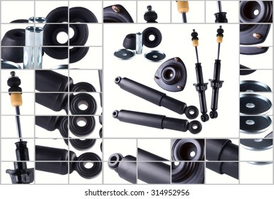 New car spare parts isolated on white background