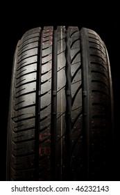 New car tire close up