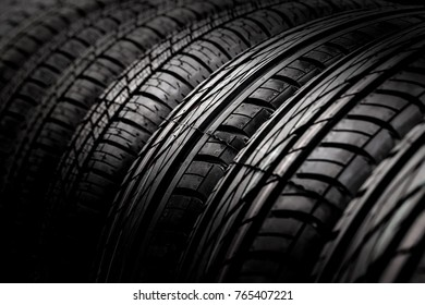 New car tires in a row. Selective focus. Close
