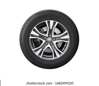 New car wheel isolated on white background