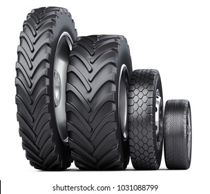 New car wheels set with disk for cars, auto, tractor and big trucks. 3d illustration over white background.