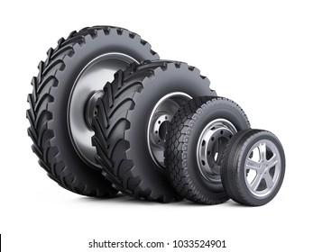 New car wheels set with disk for cars, tractor and big trucks. 3d illustration over white background.