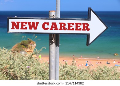 New career opportunity concept - English word. Beach sign text.