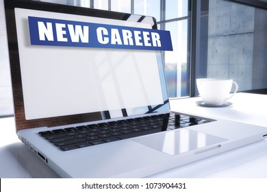 New Career text on modern laptop screen in office environment. 3D render illustration business text concept.