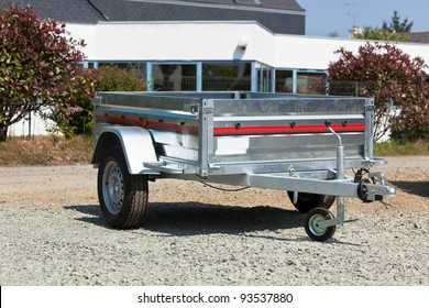 New cargo cart for sale outdoors. Horizontal shot