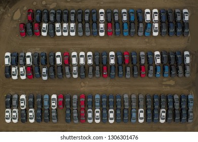 New Cars Sales lot overhead aerial view.
