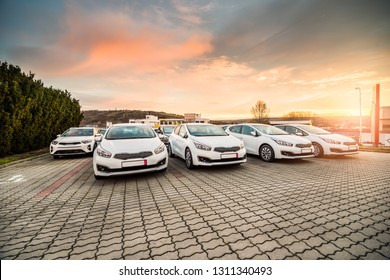 New cars stock for sale at dealership prepared for customers during the sunrise in South Moravia, Czech Republic.