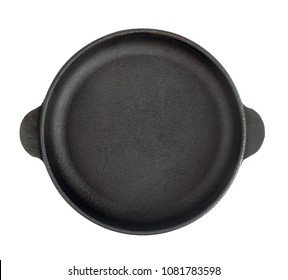 A new cast-iron pan for eating. View from above