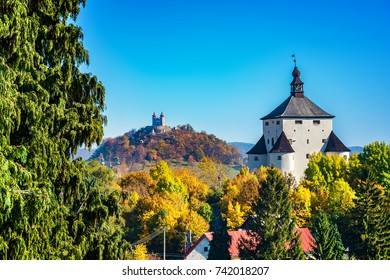 New castle and Calvary - autumn in Banska Stiavnica, Slovakia, UNESCO