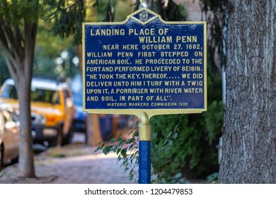New Castle, DE, USA - September 23, 2015: A historic marker about the landing of William Penn in present-day Delaware.