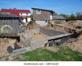 New cellar under construction in country yard