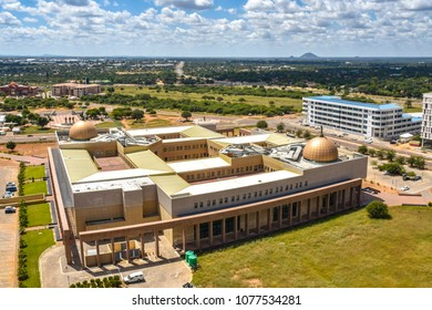 The new central business district in Gaborone in the South of Botswana with new construction, international commerce and governmental buildings after serious rainfall ending years of severe drought