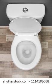 New ceramic toilet bowl indoors, top view