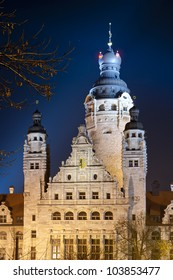 new city hall in leipzig at night