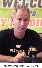 NEW CITY, NY - JULY 13:  John McEnroe holds a press conference while at the Kennedy Funding Invitational at Dellwood Country Club in New City, NY on July 13, 2008.