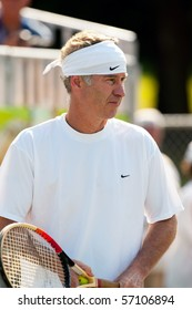 NEW CITY, NY - JULY 13:  John McEnroe plays tennis during the Kennedy Funding Invitational held at Dellwood Country Club in New City, NY on July 13, 2008.